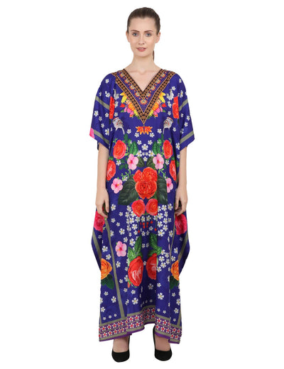 Women's Kaftans Plus Size Loungewear Long Maxi Style Dress [144-Blue]