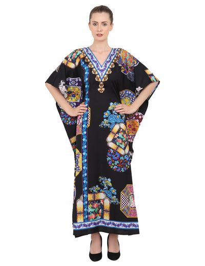 Women's Kaftans Plus Size Loungewear Long Maxi Style Dress [145-Black]