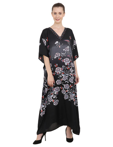 Women's Black Kaftan Tunic Kimono Long Caftan Floral Maxi Dress, 3 Sizes