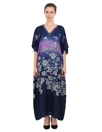 Women's Blue Kaftan Tunic Kimono Long Caftan Maxi Dress, 3 Sizes