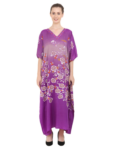 Women's Purple Kaftan Tunic Kimono Long Caftan Maxi Dress, 3 Sizes