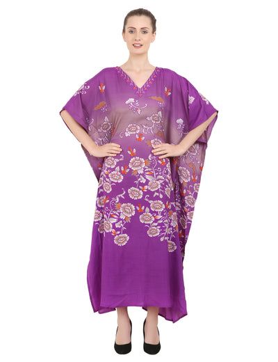 Women's Kaftan Tunic Kimono Long Caftan Floral Maxi Dress Free Sizes