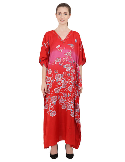 Women's Red Kaftan Tunic Kimono Long Caftan Maxi Dress, 3 Sizes