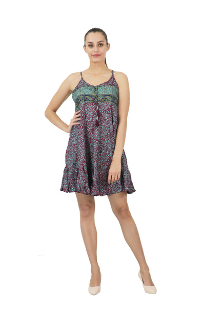 Women's Bohemian Inspired Casual Top Short Dresses in Two Sizes (P411)