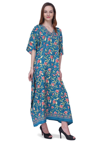 Women's Kaftans Plus Size Loungewear Long Maxi Style Dress [151-Teal]