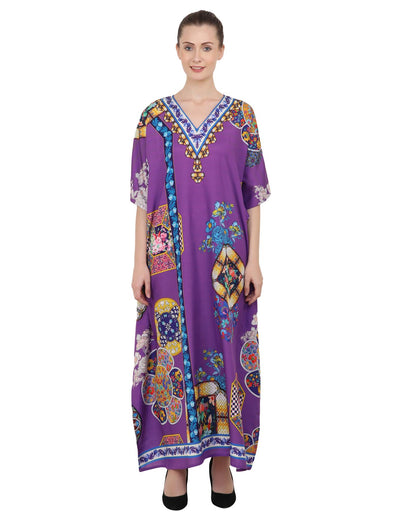 Women's Kaftans Plus Size Loungewear Long Maxi Style Dress [145-Purple]