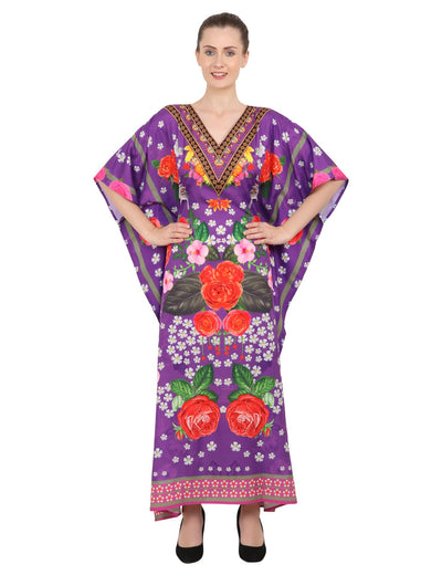 Women's Kaftans Plus Size Loungewear Long Maxi Style Dress [144-Purple]