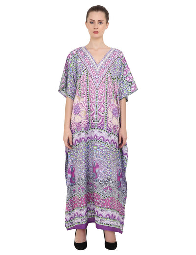 Women's Kaftans Plus Size Loungewear Long Maxi Style Dress [147-Purple]