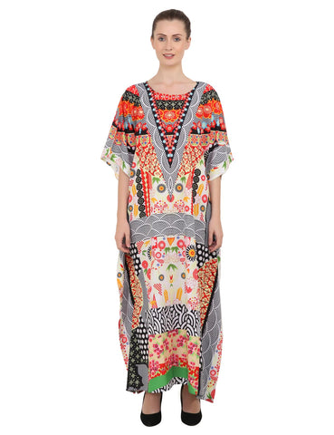 Women's Kaftans Plus Size Loungewear Long Maxi Style Dress [146-Black]
