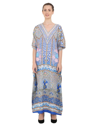 Women's Kaftans Plus Size Loungewear Long Maxi Style Dress [147-Pink]