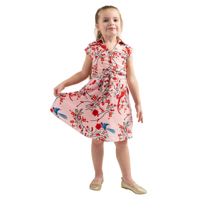 Girls Kids Vintage Style Collared Button down Dresses Bird Pink Age 3 – 12 Years