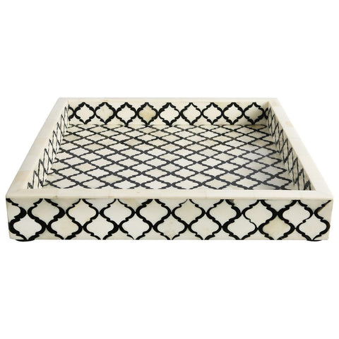 12x12'' Decorative Tray Moroccan Bone Inlay Ottoman Trays - Black
