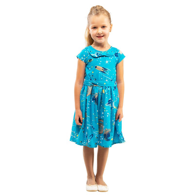 Girls Kids Vintage Style Peter Pan Collar Dresses Galaxy Turquoise Age 3 – 12 Years