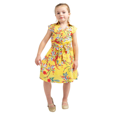 Girls Kids Vintage Style Collared Button down Dresses Bird Yellow Age 3 – 12 Years