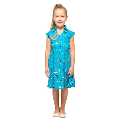 Girls Kids Vintage Style Collared Button down Dresses Galaxy Turquoise Age 3 – 12 Years