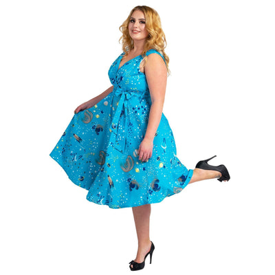 Women's Fashion Clothing Retro Galaxy Rockabilly Vintage Dresses Turquoise