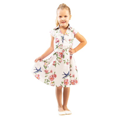Girls Kids Vintage Style Collared Button down Dresses Floral White Age 3 – 12 Years