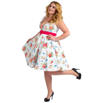 Floral Bridesmaid Dresses 1940's Rockabilly Plus Size Braid Style White