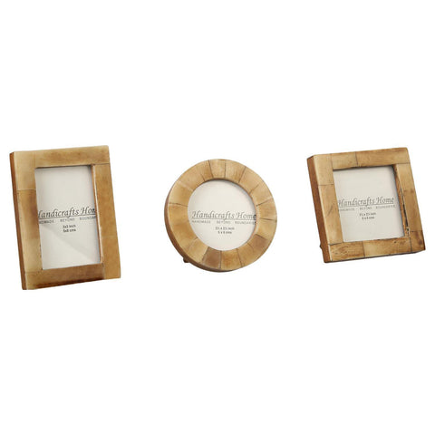 Brown Bone Inaly Photo Frame  Set of 3 Pieces - Antique / Brown