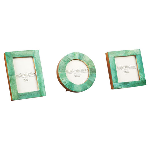 Brown Bone Inaly Photo Frame  Set of 3 Pieces - Green