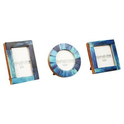 Brown Bone Inaly Photo Frame  Set of 3 Pieces - Blue