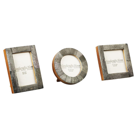Brown Bone Inaly Photo Frame  Set of 3 Pieces - Grey
