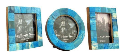 Brown Bone Inaly Photo Frame  Set of 3 Pieces - Turquoise