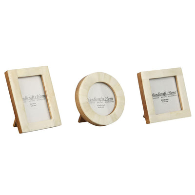 Brown Bone Inaly Photo Frame  Set of 3 Pieces - White