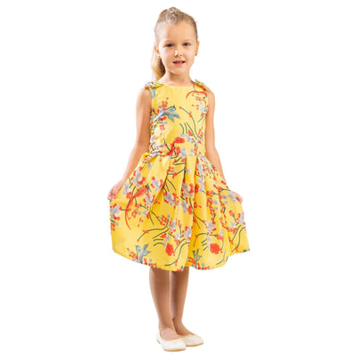 Girls Kids Vintage Style Shoulder Bow Dresses sizes from Bird Yellow Age 3 – 12 Years