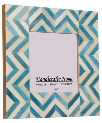 4x6 Picture Frames Chevron Pattern Bone Inlay - Turquoise