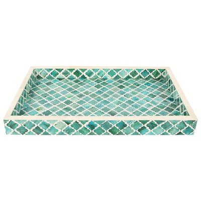 11x17'' Decorative Tray Moroccan Bone Inlay Ottoman Trays - Green