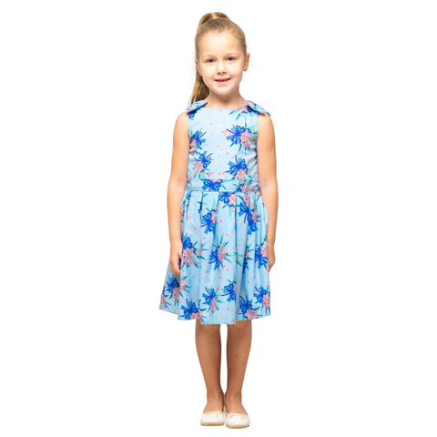 Girls Kids Vintage Style Shoulder Bow Dresses sizes from Butterfly Blue Age 3 – 12 Years