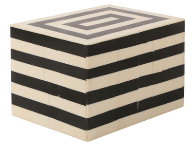 Concentrics Decorative Jewelry Storage Box Black and White - 6x4.5x4 Inch