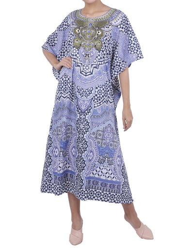 Women's Blue Kaftan Tunic Kimono Long Caftan Embellished Maxi Dress, 3 Sizes