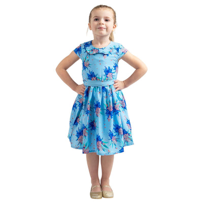 Girls Kids Vintage Style Peter Pan Collar Dresses Butterfly Blue Age 3 – 12 Years