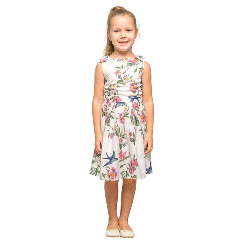 Girls Kids Vintage Style Shoulder Bow Dresses sizes from Floral White Age 3 – 12 Years