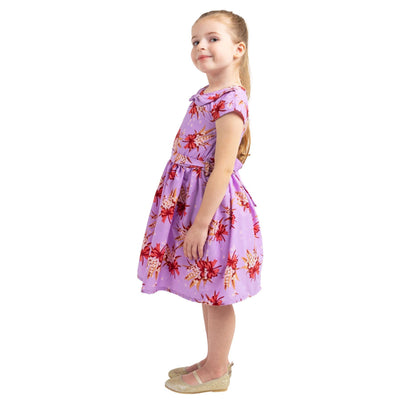 Girls Kids Vintage Style Peter Pan Collar Dresses Butterfly Purple Age 3 – 12 Years