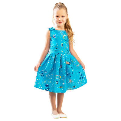 Girls Kids Vintage Style Shoulder Bow Dresses sizes from Galaxy Turquoise Age 3 – 12 Years