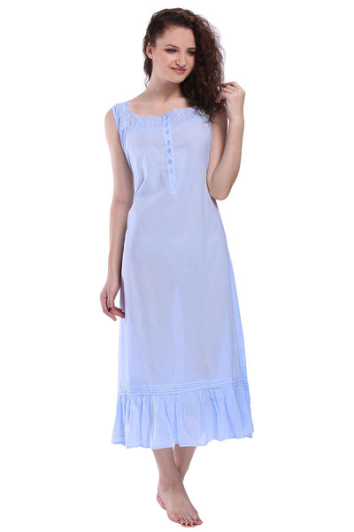 Victorian Style Nightgown Long Vintage Nightdress Blue