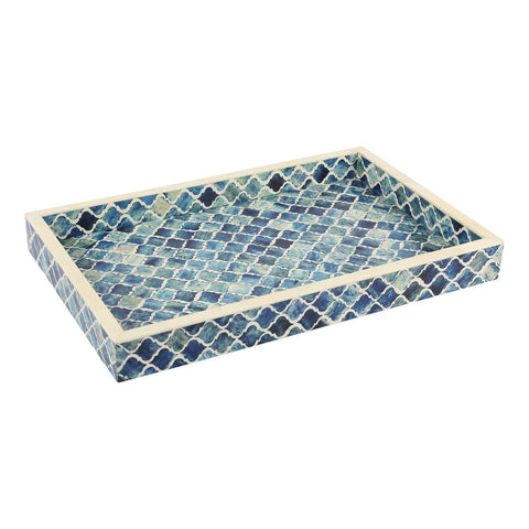 11x17'' Decorative Tray Moroccan Bone Inlay Ottoman Trays - Blue