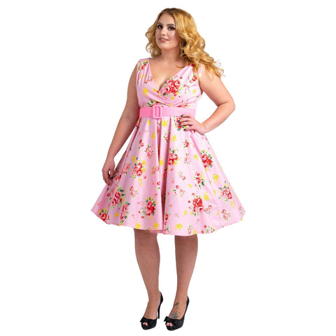 Floral Bridesmaid Dresses 1940's Rockabilly Plus Size Braid Style Pink