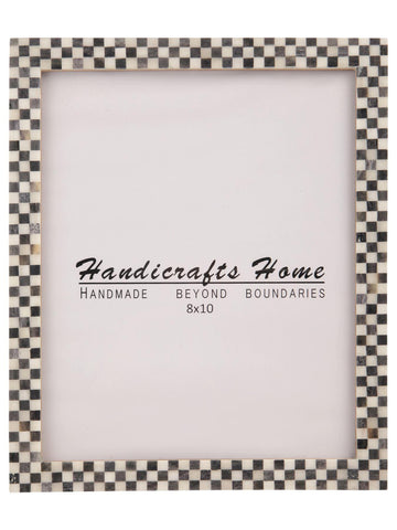 Checked Pattern Picture Frames Bone Inlay Photo Frame - 8x10