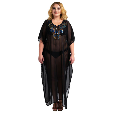 Kaftan Hand Embroidered Caftans Kimono Summer Maxi Dress 141-Black