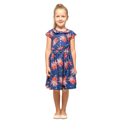Girls Kids Vintage Style Peter Pan Collar Dresses Butterfly Navy Age 3 – 12 Years