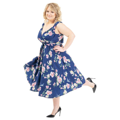 Women's Fashion Clothing Retro Floral Rockabilly Vintage Dresses Navy