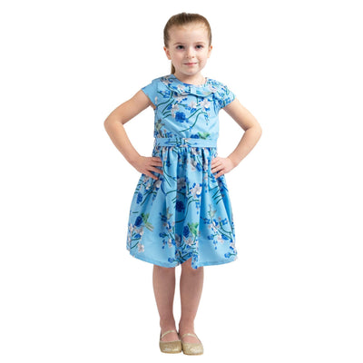 Girls Kids Vintage Style Peter Pan Collar Dresses Bird Blue Age 3 – 12 Years