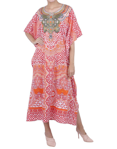 Women's Red Kaftan Tunic Kimono Long Caftan Embellished Maxi Dress, 3 Sizes