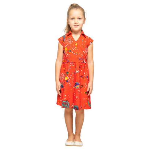 Girls Kids Vintage Style Collared Button down Dresses Galaxy Red Age 3 – 12 Years