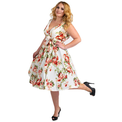Women's Floral 40s 50s Vintage Dresses Cream, Available  5 Sizes
