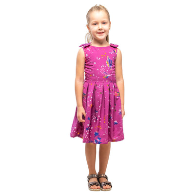 Girls Kids Vintage Style Shoulder Bow Dresses sizes from Galaxy Purple Age 3 – 12 Years